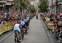 breakaway group cheered on in Leuven city center<br /> <br /> Elite Men World Championships - Road Race<br /> from Antwerp to Leuven (268.3km)<br /> <br /> UCI Road World Championships - Flanders Belgium 2021<br /> <br /> ©kramon