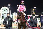February 20, 2021: PINK KAMEHAMEHA #7 ridden by Keith Tosaki wins The Saudi Derby for Hideyuki Morie on Saudi Cup Day, King Abdulaziz Racecourse, Riyadh, Saudi Arabia. Shamela Hanley/Eclipse Sportswire/CSM