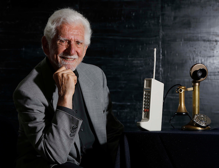 No Repro Fee.<br /> Marty Cooper, inventor of the mobile phone who was also the first man to make a mobile call pictured in Dublin Castle at the EXCITED – The Digital Learning Festival. Marty along with Lord David Puttnam , chair of Atticus Education and the Digital Champion for Ireland met with some of the 250 students from all around the country who are attending the event and took great delight in comparing phone models from the original right through to the most up to date! Pic. Robbie Reynolds
