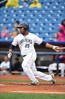 Lake County Captains first baseman Nellie Rodriguez (25) at bat during a game against the Dayton Dragons on June 8, 2014 at Classic Park in Eastlake, Ohio.  Lake County defeated Dayton 4-2.  (Mike Janes/Four Seam Images)
