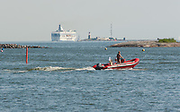 Helsinki harbour to Harmaja lighthouse is busy with boating traffic in the summertime.