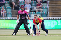 Jimmy Neesham of Essex fields the ball off his own bowling during Somerset vs Essex Eagles, Vitality Blast T20 Cricket at The Cooper Associates County Ground on 9th June 2021