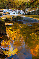 Fall colors reflect in the Roaring Fork river in the Great Smoky Mountains National Park near Townsend, Tennessee.