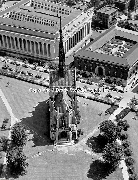 Oakland Section of Pittsburgh; view of Heinz Chapel from Pitt's Cathedral of Learning. The nondenominational chapel was given by the H.J. Heinz family to the University of Pittsburgh and was dedicated in 1938.