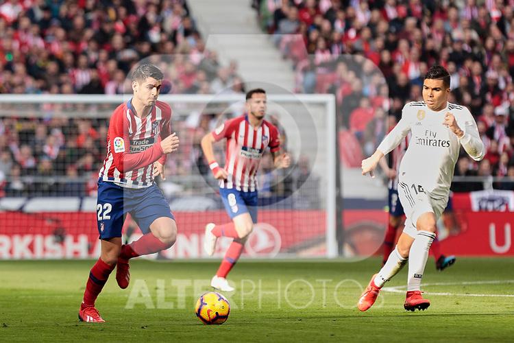 Atletico de Madrid's Alvaro Morata during La Liga match between Atletico de Madrid and Real Madrid at Wanda Metropolitano Stadium in Madrid, Spain. February 09, 2019. (ALTERPHOTOS/A. Perez Meca)
