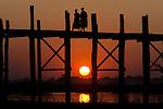 Monks crossing the U Bein Bridge, Amarapura, Myanmar