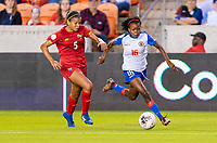 HOUSTON, TX - FEBRUARY 3: Yerenis De Leon #5 of Panama defends Abaina Louis #16 of Haiti t during a game between Panama and Haiti at BBVA Stadium on February 3, 2020 in Houston, Texas.