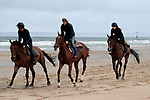 August 16, 2021, Deauville (France) - Recehorses training at the beach in Deauville. [Copyright (c) Sandra Scherning/Eclipse Sportswire)]
