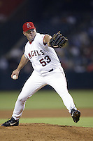 Brendan Donnelly of the Los Angeles Angels pitches during a 2002 MLB season game at Angel Stadium, in Anaheim, California. (Larry Goren/Four Seam Images)