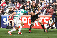 Sunday 19 October 2014<br /> Pictured: Ospreys second row Alun Wyn-Jones takes on Treviso wing Angelo Esposito.<br /> Re: Ospreys v Treviso, Heineken Champions Cup at the Liberty Stadium, Swansea