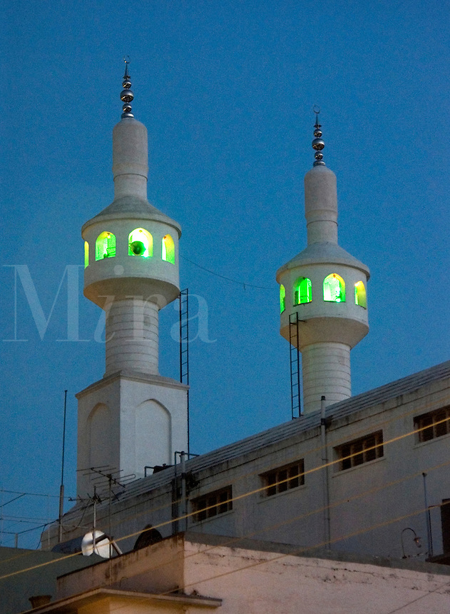 December, 2003 The minarets of a mosque at twilight in Bangalore, Karnataka state, India