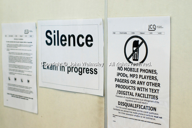 Sign outside an exam hall, state secondary school.