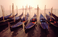 Italy, Venice. Gondolas  and San Giorgio Maggiori
