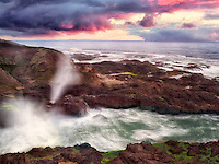 Cook's Chasam with breaking waves and sunset. Oregon