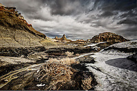 Winter in the Bisti Wilderness in New Mexico's San Juan Basin provides striking contrasts in a remote setting.