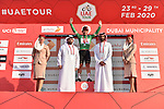 Green Jersey holder Caleb Ewan (AUS) Lotto-Soudal wins Stage 2 the Dubai Municipality Stage and retains the Green Jersey of the UAE Tour 2020 running 168km from Hatta to Hatta Dam, Dubai. 24th February 2020.<br /> Picture: LaPresse/Fabio Ferrari   Cyclefile<br /> <br /> All photos usage must carry mandatory copyright credit (© Cyclefile   LaPresse/Fabio Ferrari)