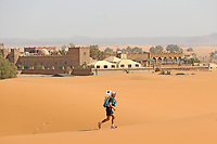 4th October 2021; Tisserdimine to Kourci Dial Zaid;  Marathon des Sables, stage 2 of  a six-day, 251 km ultramarathon, which is approximately the distance of six regular marathons. The longest single stage is 91 km long. This multiday race is held every year in southern Morocco, in the Sahara Desert. A lone runner pushes through the sand