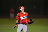 Orem Owlz shortstop Livan Soto (7) prepares to catch a pop fly during a Pioneer League game against the Helena Brewers at Kindrick Legion Field on August 21, 2018 in Helena, Montana. The Orem Owlz defeated the Helena Brewers by a score of 6-0. (Zachary Lucy/Four Seam Images)