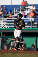 Batavia Muckdogs catcher Igor Baez (29) throws down to third base after a strikeout during a game against the State College Spikes on July 7, 2018 at Dwyer Stadium in Batavia, New York.  State College defeated Batavia 7-4.  (Mike Janes/Four Seam Images)