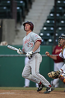 Ben Clowe of the Stanford Cardinal bats against the USC Trojans at Dedeaux Field in Los Angeles,California on April 8, 2011. Photo by Larry Goren/Four Seam Images
