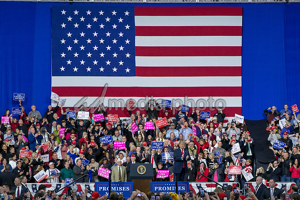 United States President Donald J. Trump takes the stage during a Make America Great Again campaign rally at Atlantic Aviation in Moon Township, Pennsylvania on March 10th, 2018. Photo Credit: Alex Edelman/CNP/AdMedia