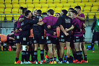 The Maori team huddles during the international rugby match between Manu Samoa and the Maori All Blacks at Sky Stadium in Wellington, New Zealand on Saturday, 26 June 2021. Photo: Dave Lintott / lintottphoto.co.nz