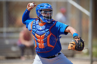 New York Mets Catcher Juan Uriarte (17) during practice before a minor league Spring Training game against the Miami Marlins on March 26, 2017 at the Roger Dean Stadium Complex in Jupiter, Florida.  (Mike Janes/Four Seam Images)
