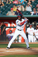 Chavez Young (2) of the Lansing Lugnuts at bat against the South Bend Cubs at Cooley Law School Stadium on June 15, 2018 in Lansing, Michigan. The Lugnuts defeated the Cubs 6-4.  (Brian Westerholt/Four Seam Images)