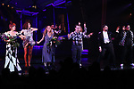 """Leslie Kritzer, Kerry Butler, Rob McClure, Adam Dannheisser and Kelvin Moon Loh during the Broadway Opening Night Performance Curtain Call for """"Beetlejuice"""" at The Winter Garden on April 25, 2019 in New York City."""
