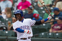 Round Rock Express shortstop Jurickson Profar #10 on deck against New Orleans Zephyrs in the Pacific Coast League baseball game on April 21, 2013 at the Dell Diamond in Round Rock, Texas. Round Rock defeated New Orleans 7-1. (Andrew Woolley/Four Seam Images).
