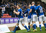 St Johnstone v Dundee…02.10.21  McDiarmid Park.    SPFL<br />Liam Craig making is 442nd appearance for saints celebrates with fans after Chris Kane opened the scoring<br />Picture by Graeme Hart.<br />Copyright Perthshire Picture Agency<br />Tel: 01738 623350  Mobile: 07990 594431