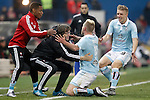 Celta de Vigo's Theo Bongoda (l), John Guidetti (c) and Daniel Wass celebrate goal during Spanish Kings Cup match. January 27,2016. (ALTERPHOTOS/Acero)
