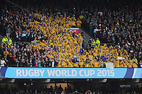 Australian fans cheer during Match 35 of the Rugby World Cup 2015 between Australia and Wales - 10/10/2015 - Twickenham Stadium, London<br /> Mandatory Credit: Rob Munro/Stewart Communications