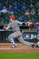 Kole McKinnon (11) of the Louisiana Ragin' Cajuns follows through on his swing against the Kentucky Wildcats in game seven of the 2018 Shriners Hospitals for Children College Classic at Minute Maid Park on March 4, 2018 in Houston, Texas.  The Wildcats defeated the Ragin' Cajuns 10-4. (Brian Westerholt/Four Seam Images)