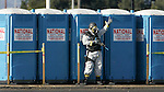 All is secure at the portable toilets during the multiple resonse disaster drill in Oakland. A bomb exercise (DRILL ONLY) conducted at Oakland Coliseum north parking lot was an IED detonates at a construction site in central Jack London Square, damaging nearly building and injuring many people attending the Farmer's Market and Art Show being held in the parking lot area of the Square. Golden Guardian holds an annual statewide disaster preparedness exercise sponsored by California Department of Homeland Security and California Office of Emergency Services.  The 2005 exercise allows multiple and prevention agencies in Alameda, Sacramento, Yolo, and Placer Counties to work together in a simulated environment.  .