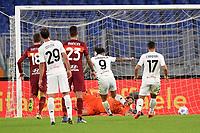 Gianluca Lapadula of Benevento Calcio scores the goal of 2-2 during the Serie A football match between AS Roma and Benevento Calcio at Olimpico stadium in Roma (Italy), October 18th, 2020. Photo Antonietta Baldassarre / Insidefoto