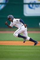 NW Arkansas Naturals outfielder Terrance Gore (3) steals second during a game against the San Antonio Missions on May 30, 2015 at Arvest Ballpark in Springdale, Arkansas.  San Antonio defeated NW Arkansas 5-1.  (Mike Janes/Four Seam Images)