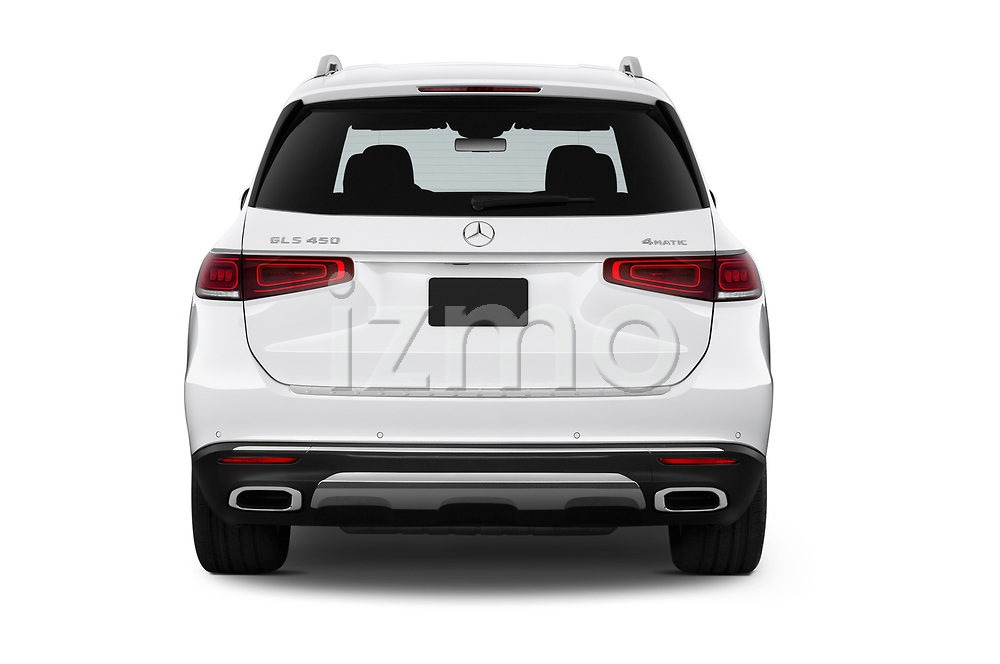 Straight rear view of 2020 Mercedes Benz GLS GLS450 5 Door SUV Rear View  stock images
