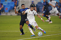 SAN JOSE, CA - SEPTEMBER 5: Younes Namli #21 of the Colorado Rapids is marked by Marcos Lopez #27 of the San Jose Earthquakes during a game between Colorado Rapids and San Jose Earthquakes at Earthquakes Stadium on September 5, 2020 in San Jose, California.