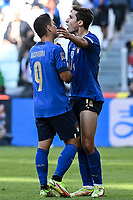 Federico Chiesa and Giacomo Raspadori of Italy during the Uefa Nations League 3rd and 4th place final football match between Italy and Belgium at Juventus stadium in Torino (Italy), October 10th, 2021. Photo Image Sport / Insidefoto