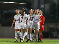 OHL players celebrate their team's goal during a female soccer game between FC Femina White Star Woluwe and Oud Heverlee Leuven on the fourth matchday in the 2021 - 2022 season of Belgian Scooore Womens Super League , Friday 10 th of September 2021  in Woluwe , Belgium . PHOTO SPORTPIX | SEVIL OKTEM