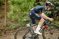 eventual race winner Tom Pidcock (GBR/Ineos Grenadiers) up the Moskesstraat<br /> <br /> 61st Brabantse Pijl 2021 (1.Pro)<br /> 1 day race from Leuven to Overijse (BEL/202km)<br /> <br /> ©kramon
