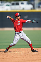 Los Angeles Angels of Anaheim Leonardo Rivas (7) during an Instructional League game against the Colorado Rockies on October 6, 2016 at the Tempe Diablo Stadium Complex in Tempe, Arizona.  (Mike Janes/Four Seam Images)