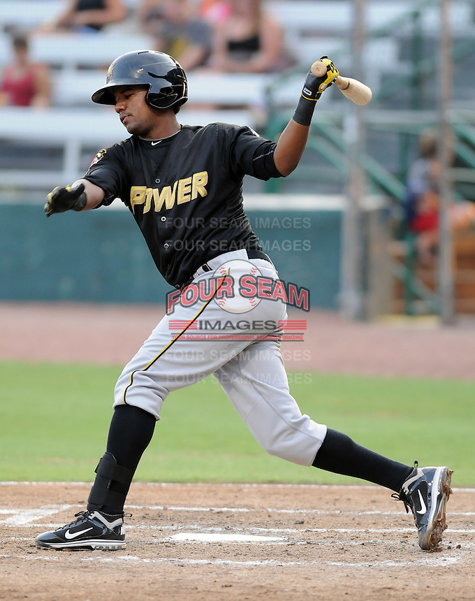 Infielder Eric Avila (15) of the West Virginia Power, Class A affiliate of the Pittsburgh Pirates, in a game against the Savannah Sand Gnats on July 21, 2011, at Grayson Stadium in Savannah, Georgia. (Tom Priddy/Four Seam Images)