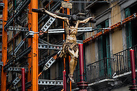 The carved wooden sculpture of Jesus Christ is carried in the streets during the Holy Week celebration in Malaga, Spain, 7 April 2007.