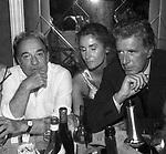 UGO TOGNAZZI CON ASTRID SCHILLER E GIORGIO PAVONE<br /> FESTA PER I 10 ANNI DI PLAYBOY<br /> PIPER  CLUB ROMA 1980