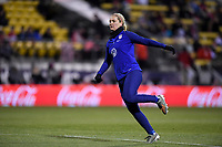 COLUMBUS, OH - NOVEMBER 07: Lindsey Horan #9 of the United States warming up during a game between Sweden and USWNT at MAPFRE Stadium on November 07, 2019 in Columbus, Ohio.