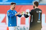 20.02.2021, xtgx, Fussball 3. Liga, FC Hansa Rostock - SV Waldhof Mannheim, v.l. Julian Riedel (Hansa Rostock, 3), Markus Kolke (Hansa Rostock, 1) Jubel ueber den Sieg, Jubel nach Spielende <br /> <br /> (DFL/DFB REGULATIONS PROHIBIT ANY USE OF PHOTOGRAPHS as IMAGE SEQUENCES and/or QUASI-VIDEO)<br /> <br /> Foto © PIX-Sportfotos *** Foto ist honorarpflichtig! *** Auf Anfrage in hoeherer Qualitaet/Aufloesung. Belegexemplar erbeten. Veroeffentlichung ausschliesslich fuer journalistisch-publizistische Zwecke. For editorial use only.