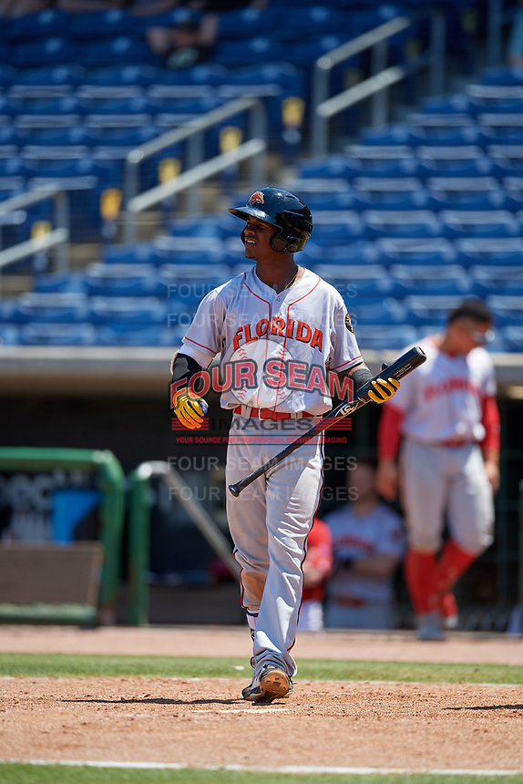 Florida Fire Frogs Kevin Josephina (20) during a Florida State League game against the Clearwater Threshers on April 24, 2019 at Spectrum Field in Clearwater, Florida.  Clearwater defeated Florida 13-1.  (Mike Janes/Four Seam Images)