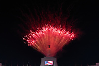 LOS ANGELES, CA - SEPTEMBER 11: Fireworks before a game between University of Southern California and Stanford Football at Los Angeles Memorial Coliseum on September 11, 2021 in Los Angeles, California.